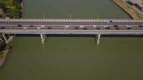 Drone`s Eye View of urban traffic jam on bridge royalty free stock photography