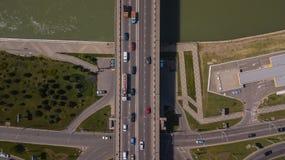 Drone`s Eye View of urban traffic jam on bridge stock photos