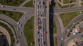 Drone`s Eye View of urban traffic jam on bridge stock photography