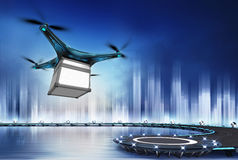 Drone with safety box at flight over heliport Royalty Free Stock Photos