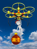 Drone and Santa with a ball 2017 Royalty Free Stock Images
