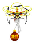 Drone and Santa with a ball 2017 Stock Images