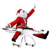 Drone. Santa claus flying on drone stock photos