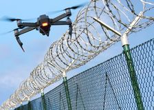 Drone security on state border or restricted area. Stock Photos