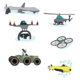 Drone. Set of drones, flying machine for army Stock Images