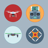 Drone set flat style. Remote copter, mobile phone, control board Royalty Free Stock Photos
