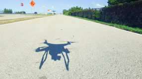 Drone shadow on a beautiful day Royalty Free Stock Photo