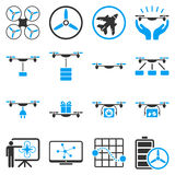Drone shipment icon set Royalty Free Stock Photos