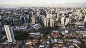 Drone shooting in a big city in the world, the Itaim Bibi neighborhood, the city of Sao Paulo. Brazil South America royalty free stock photo
