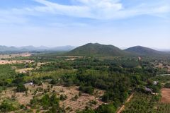 Drone shot aerial view scenic landscape of agriculture farm against mountain and nature forest. Above, agiculture, angel, asia, background, beautiful, birds stock images