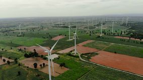 Drone shot aerial view scenic of wind turbine for electric generation eco and clean power