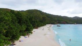 Aerial View Of Anse Lazio Beach, Praslin Island, Seychelles 8. Drone Shot Of Anse Lazio,Praslin Island, Seychelles stock video footage