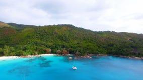 Aerial View Of Anse Lazio Beach, Praslin Island, Seychelles 4. Drone Shot Of Anse Lazio,Praslin Island, Seychelles stock video footage