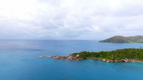 Aerial View Of Ocean And Islands 1. Drone Shot Of Anse Lazio,Praslin Island, Seychelles stock video