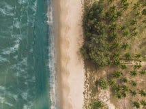 Drone Shot of the Beach near Hua Hin, Thailand stock image