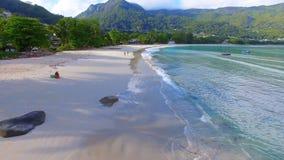 Aerial view of Beau Vallon Beach, Mahe Island, Seychelles 2. Drone shot of Beau Vallon Beach, Mahe Island, Seychelles stock video footage