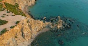 Drone shot Ibiza coastline stock video