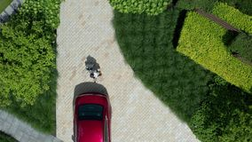 Aerial view of woman carrying suitcase to car. Drone shot of businesswoman walking on courtyard path among green garden plants carrying suitcase on wheels to stock footage