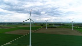 Drone shot of a wind farm stock video footage