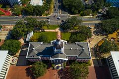 Aerial photo Florida State Capitol Building Tallahassee FL. Drone shot of Florida State Capitol Building shot from overhead perspective Royalty Free Stock Images
