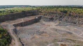 Drone shot of granite quarry stock video