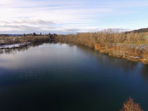 Drone shot of lake in winter time Royalty Free Stock Photo