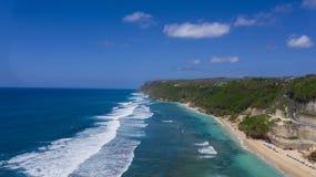 Drone shot of Melasti beach, Bali stock photo