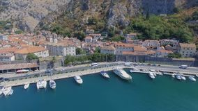 Aerial Panorama Of Boka Kotorska Bay, Kotor, Montenegro. Drone Shot Panorama Of Boka Kotorska Bay, Kotor, Montenegro stock video