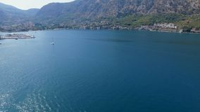 Aerial panorama of Boka Kotorska Bay, Montenegro. Drone shot panorama of Boka Kotorska Bay, Montenegro stock footage