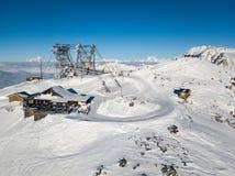 Top gondola drone shot of winter resort Stock Photos