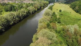 Drone Shot of a River in Temperate Climate Zone. Europe, Ukraine, Vinnytsia. Aerial. stock video footage