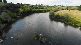 Drone Shot of a River in Temperate Climate Zone. Europe, Ukraine, Vinnytsia. Aerial. stock video