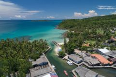 Drone shot of  thailand island coastline in the tropical forest stock photography