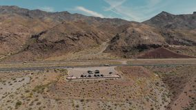 Drone shot of tourists and cars gathered at lake mead scenic view point near las vegas nevada. Las Vegas, United States - April 19, 2019: Drone shot of tourists stock footage