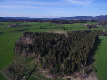 Drone shot of woodland in countryside Stock Photo