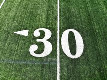 Drone Shot Of The 30 Yard Mark On An American Football Field royalty free stock photography