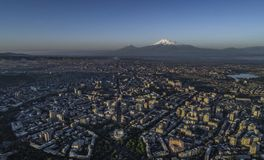 Drone shot of Yerevan stock image