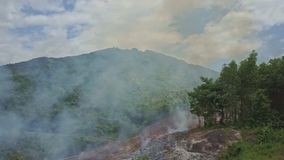 Drone shows banana trees against fire smoke hills and sky. Drone shows banana trees against fire smoke rising above green hills and blue sky with white clouds stock footage