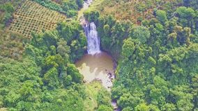 Drone shows distant waterfall surrounded by jungle stock footage