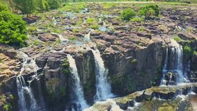 Drone Shows Waterfalls Stream River against Jungle in Vietnam stock video footage