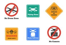 Drone Signs Set Stock Photo