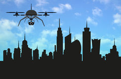 Drone with Skyline metropolis of the ideal city, the shape of the urban landscape ,3D Illustration Render Stock Images