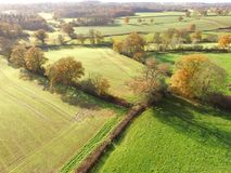 Aerial image of the Ouse Valley in Sussex. Drone still image of the Sussex countrye in England showing Ouse Valley and farm fields Royalty Free Stock Images