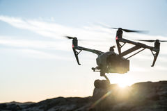 Drone Sunset. The aerial cinematography drone of 2017 royalty free stock image