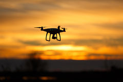 Drone in sunset stock images