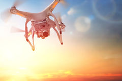 Drone in the  sunset sky Stock Photography