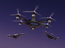 Drone with surveillance camera flying in night sky. Stock Images