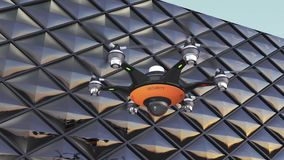 Drone with surveillance camera stock footage