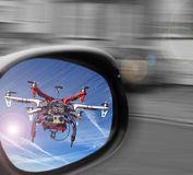 Drone surveillance in mirror Stock Image