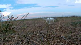 Drone taking off. And flying in the field stock video